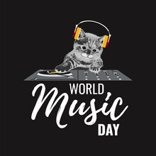 World Music Day Greeting Card, Poster, Banner, Flyer, Postcard Concept Design. Black DJ Cat With Vinyl Disc Player On Black Background. Vector Illustration