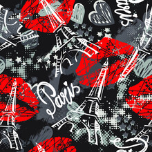 Vector Fashion Sketch. Glamour Seamless Pattern With Red Lips, Xoxo, Hearts.Girlish Print For Clothes, Textiles, Wrapping Paper, Web. Isolated Elements On White Background
