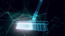 Plastic Broom Hologram Close Up 4k. High Quality 4k Footage