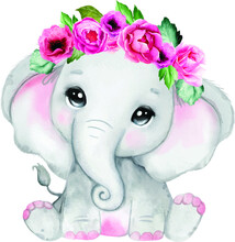 Elephant With Flowers Pink Watercolor Clip Art, Pink Elephant Birthday, Baby Shower Decoration, Sublimation, Decor, Vector, Floral, Rustic