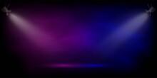 Stage In Pink And Blue Fog Spotlight. Light Fom Projectors Lighting Scene On Black Background. Interior Fashion Design Vector Illustration. Empty Minimal Colorful Lighting
