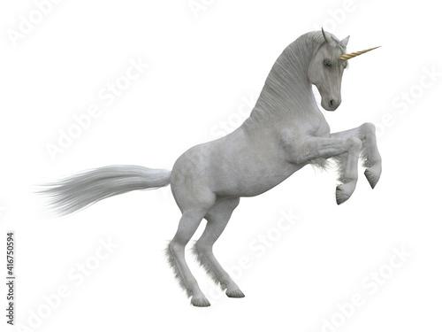 Fotografia, Obraz White unicorn rearing up on hind legs