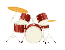 Red Color Drums Set Professional Music Instrument Vector Illustration On White Background