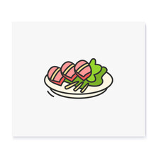 Bossam Color Icon. Traditional Korean Dish. Asian Food Of Wrapped Boiled Pork With Dipping Sauces In Lettuce Leaf. Korean Cuisine Concept.Isolated Vector Illustration