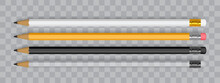 White, Orange And Black Pencils Isolated On White Background Mock Up