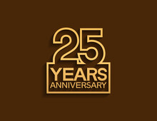 25 Years Anniversary Design Line Style With Square Golden Color Isolated On Brown Background Can Be Use For Special Moment Celebration