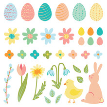 Set Of Cute Colorful Easter Spring Illustration. Isolated Vector Elements On White Background. Clip Art. Digital Drawing Pack. Happy Garden Print With Bunny, Chick, Flowers And Painted Easter Eggs.