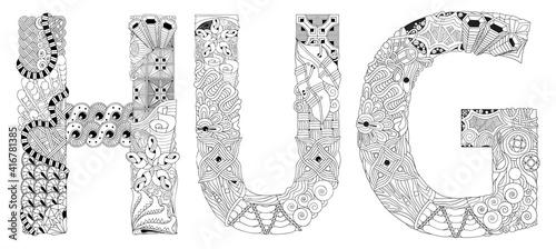 Obraz na plátně Words HUG. Vector zentangle object for coloring