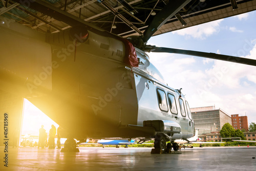 Tablou Canvas Passenger helicopter in the hangar