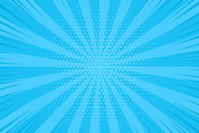 Pop Art Halftone Background. Comic Starburst Pattern. Cartoon Retro Sunburst Effect. Blue Banner With Dots And Rays. Vintage Duotone Texture. Vector Illustration. Superhero Wow Banner.