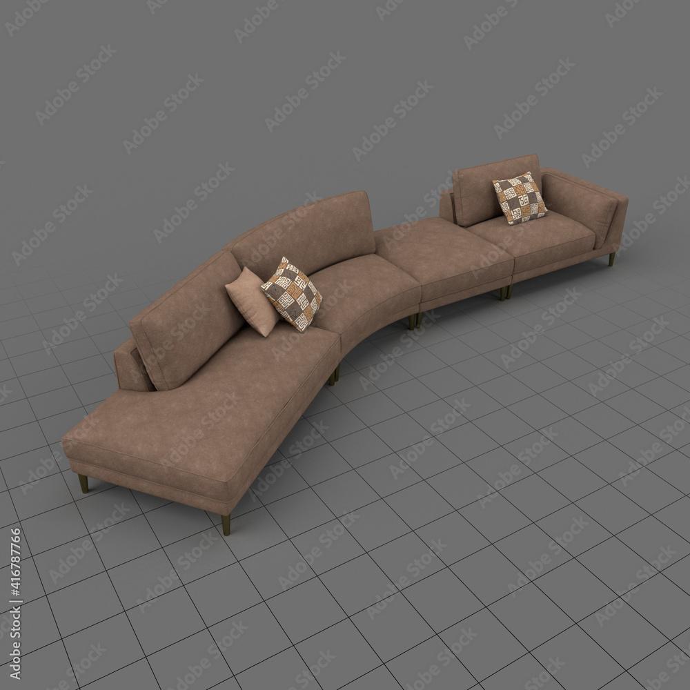 Fototapeta Four section sofa with cushions