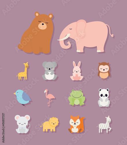 Fototapeta premium bundle of kids animal icons