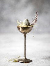 Easter Composition Quail Egg In Vintage Stand.