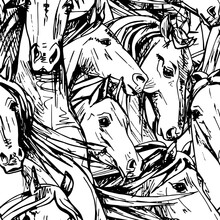Seamless Wallpaper Pattern. The Beautiful White Horses Portrait. Textile Composition, Hand Drawn Style Print. Vector Illustration.