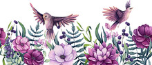 Seamless Border Of Watercolor Herbs, Flowers And Birds