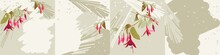 Set Of Backgrounds For Posts In Social Networks, For A Greeting Cards. Colored Illustration With Bright Flowers On A Pastel Background With Splashes, Vector
