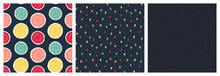 Set Of Seamless Patterns With Bright Watermelon Round Slices, Random Drops, Oval Shapes On Deep Blue Background. Vector Pattern For Wrapping Paper, Package, Fabric Print, Kids Textile And Other.