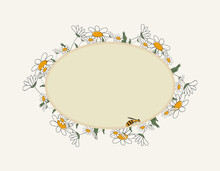 Seasonal Spring Hand Drawn Frame Vector Background.Summer Decorative Box Or Border With Daisies, Cute Bee And Place For Text.Flower Backdrop Or Template With Honeybee For Social Media Post Banner