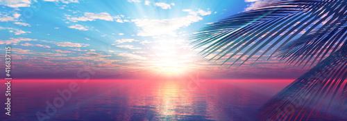 Cuadros en Lienzo sunset sea palm landscape illustration