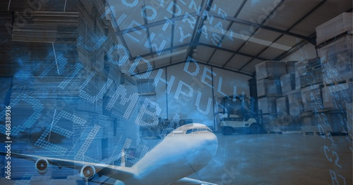 Digital illustration of plane starting with data processing