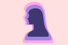 Woman Abstract Representation. Multi Layered Efect Representing Personality Depth And Complexity. Vector Icon.