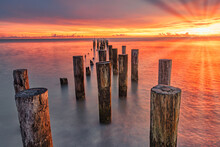 Pier At Sunset - Coastal Dreams Near Pier Naples Florida. Beauty And Travel Concept.
