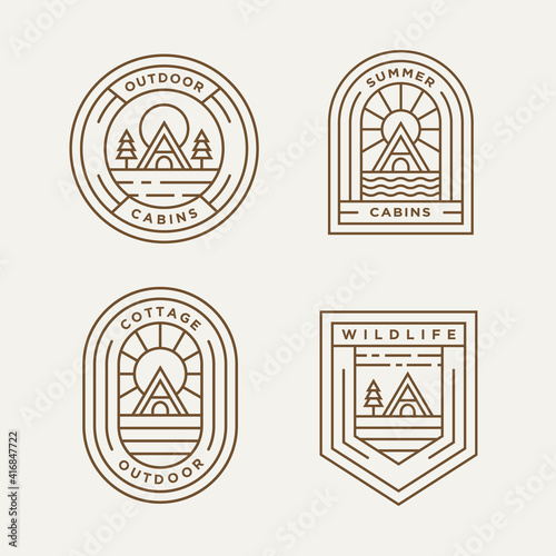 Canvas Print set of cottage and cabin minimalist line art logo template vector design illustration