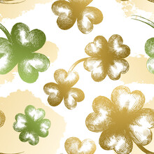 Vector Seamless Pattern With Golden Three-leafed And Four-leafed Vintage Clovers And Brush Stroke. Silhouette Of Plant Leaves. Artwork For The Design Of Festive Products For St. Patrick's Day.