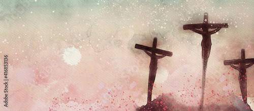 Fotografiet Crucifixion. Watercolor christian banner..