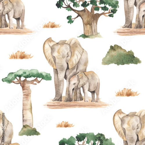 Foto Watercolor seamless pattern mom and baby elephants in the African savannah with