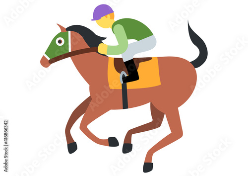 Valokuva illustration of a young boy rides a horse