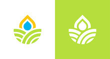 Natural And Organic Farming Land Logo With Water Drop And Sun Element, Simple Environmental Logo
