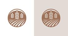 Modern Farming Land Silhouette Logo, Natural Wheat Garden Logo Emblem In A Circle Border
