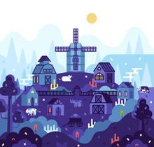 Vector Cartoon Square Illustration In Flat Cartoon Stile, Village Landscape, Farmhouses, Mill, Barn And Cow