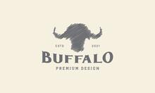 Buffalo Head Doodle Logo Design Vector Icon Symbol Graphic Illustration