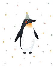 Cute Penguin Illustration - Birthday Party. Poster With Penguincartoon Character For Kids