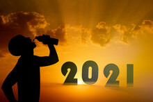 Silhouettes Men Drinking Water In Bottles Isolated Background Sunset In 2021