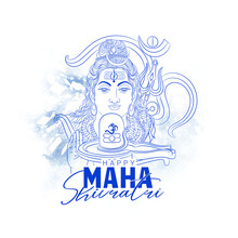 Illustration Of Lord Shiva For Happy Maha Shivratri With Hindi Text Shiv, Har Har Mahadev