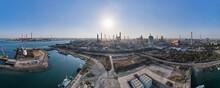 工業地帯の空撮 超広角パノラマ撮影