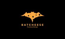 Cheese With Bat Animal Logo Design Vector Icon Symbol Illustration