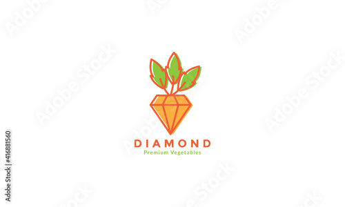 colorful carrot with diamond logo design vector icon symbol illustration Fototapeta