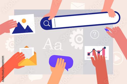 Team people working on web site development Fototapeta