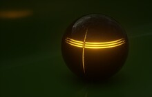 3D Image Of A Black Ball On A Dark Green Background With Glowing Yellow Stripes