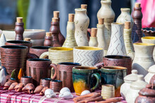 Clay Bottles With Corks. Colored Earthenware.