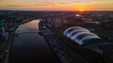 Aerial view of the Millennium Bridge and Sage Gateshead at sunrise on 27 February 2021.