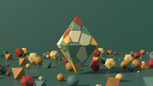 Pyramid With Colorful Surface. Green, Orange, Brown Balls And Polyhedrons. Green Background. Abstract Illustration, 3d Render.