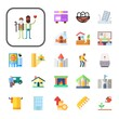 home Collection Vector Icons Set. home flat icons also castle, business, cabin, skyscraper, earthquake, tree house, office, nest, house, fireplace, old man, home assistant, caravan