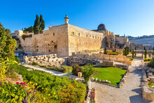 South-western Corner Of Temple Mount Walls With Robinson's Arch, Al-Aqsa Mosque And Western Wall Excavation In Jerusalem Old City In Israel