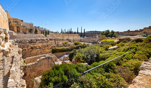 Temple Mount south wall with Al-Aqsa Mosque and archeological excavation site in Wallpaper Mural