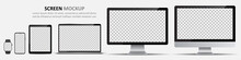 Screen Mockup. Computer Monitors, Laptop, Tablet, Smartphone And Smartwatch With Blank Screen For Design